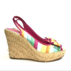 Coach Grace Rainbow Straw Wedge High Heels Shoes